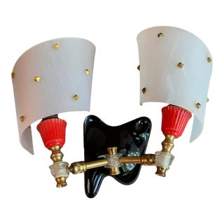 1950 Atomic Double Wall Sconce For Sale