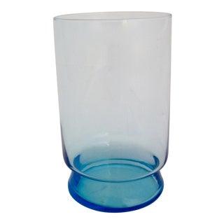 Large Mid Century Blue Glass Vase