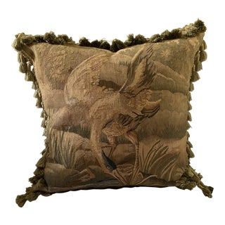 Aubusson Pillow With Tassels and Velvet Backing For Sale