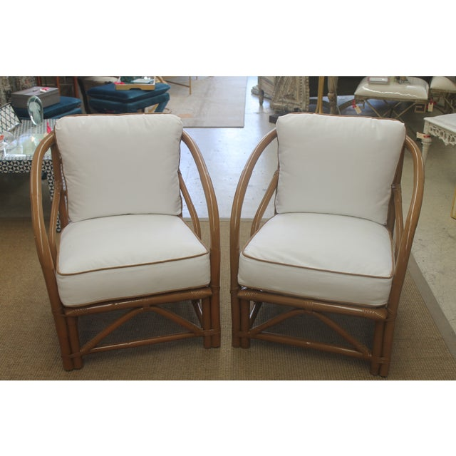 Vintage White Bamboo Chairs - A Pair - Image 2 of 5