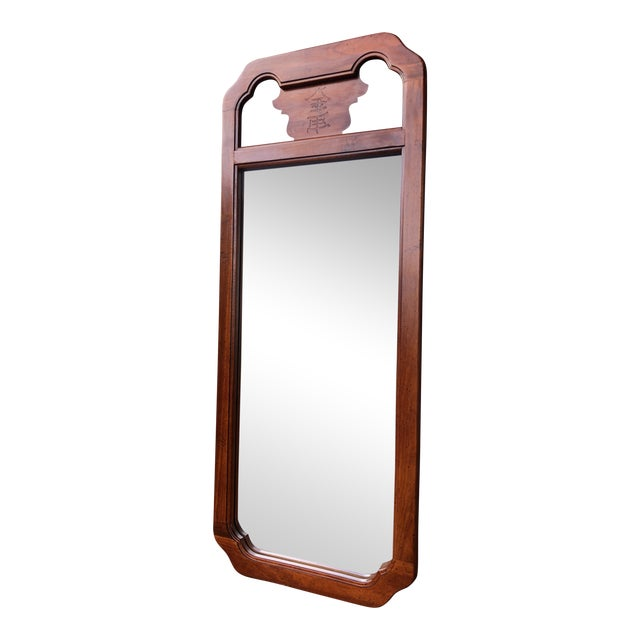 1970s Chinoiserie Bassett Wood Wall Mirror For Sale
