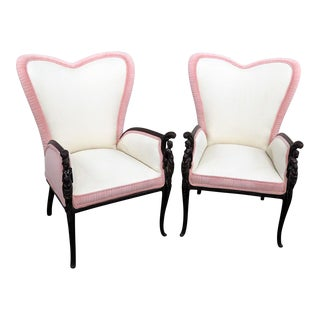 Vintage Mid Century Valentines Design Wing Chairs- A Pair For Sale
