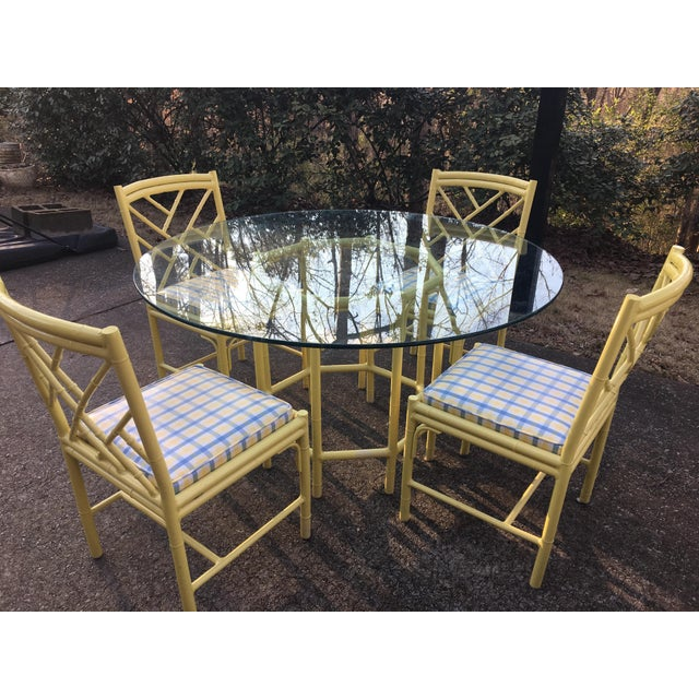 1970s Chippendale Meadowcraft Faux Bamboo Dining Set - 5 Piece Set For Sale In Birmingham - Image 6 of 8