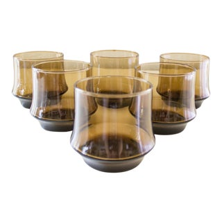 Smoked Amber Glass Tumblers | Vintage Barware | Set of 6 For Sale