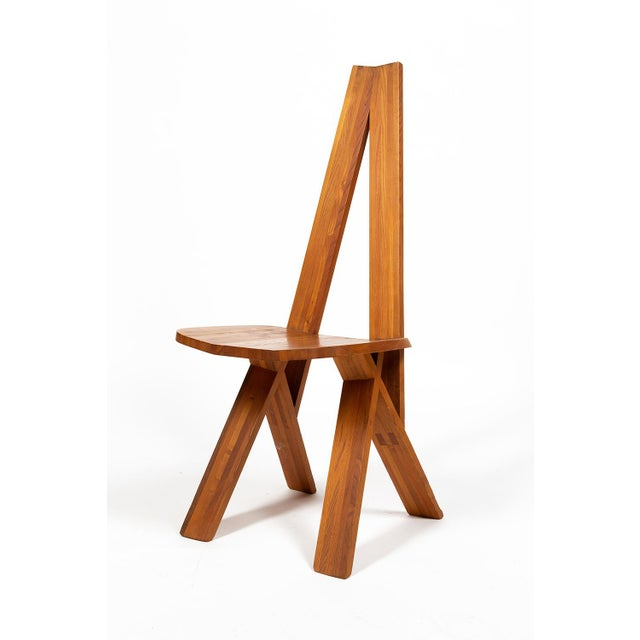Brutalist Four Chairs by Pierre Chapo S45 in Solid Elm For Sale - Image 3 of 12