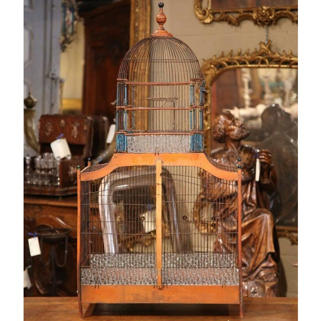 19th Century French Hand-Painted Carved & Wired Birdcage - Image 8 of 8