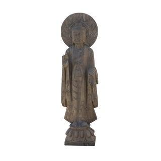 Chinese Gray Stone Carved Standing Abhaya Mudra Buddha Statue For Sale