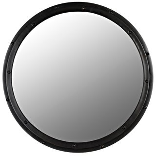 Round Mirror, Black Metal For Sale