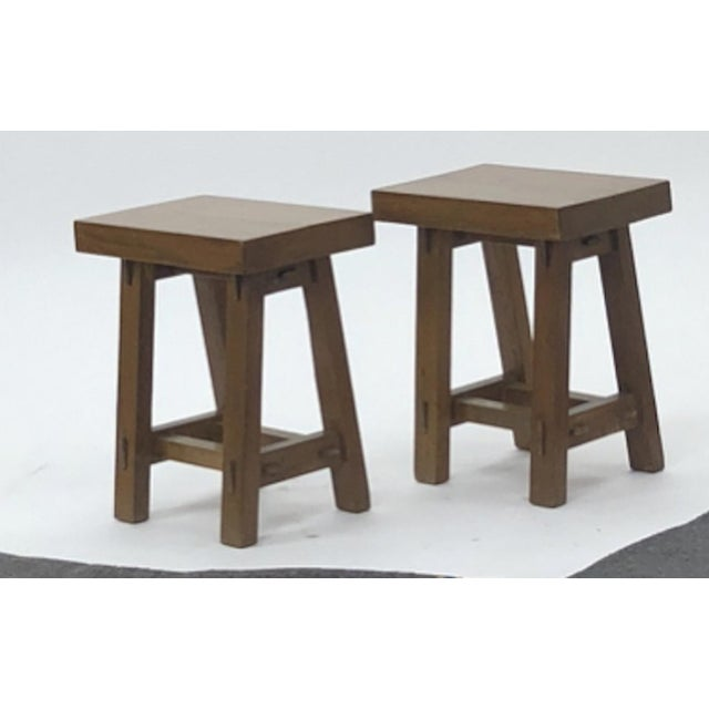 Mid-Century Modern Style of Pierre Jeanneret Set of 4 Organic Oak Stools For Sale - Image 3 of 5