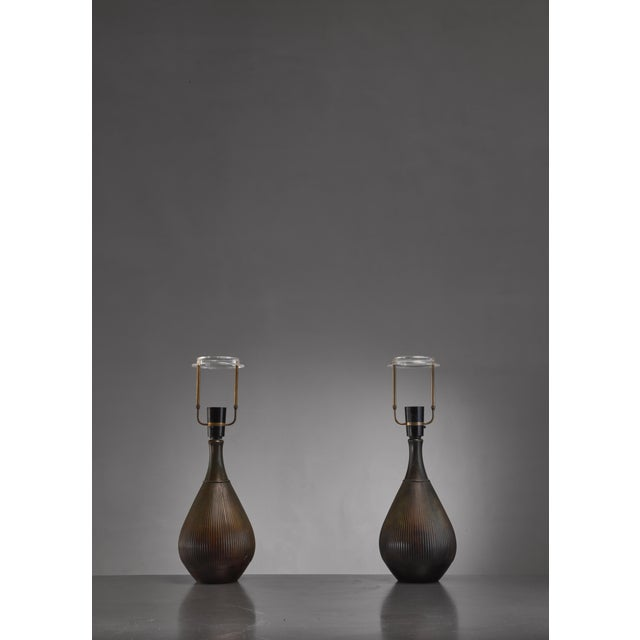 Mid-Century Modern Just Andersen Pair of Metal Table Lamps, Denmark, 1930s For Sale - Image 3 of 4