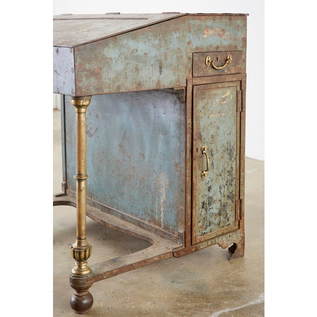 19th Century English Iron Bronze Industrial Davenport Desk For Sale - Image 11 of 13