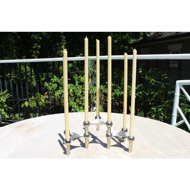 Metal All Original Boxed Set of Mid-Century Nagel & Stoffi Modular Candleholders With Candles For Sale - Image 7 of 12