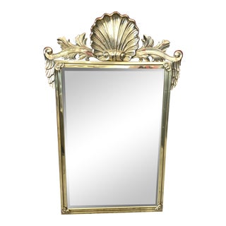 1980s Art Nouveau Decorative Crafts Inc Vintage Solid Brass Lacquered Shell Mirror For Sale