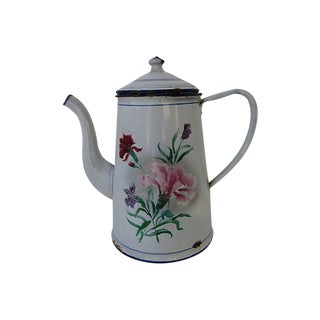 Antique French Enamel Hand Painted Coffee Pot Cafetiere For Sale