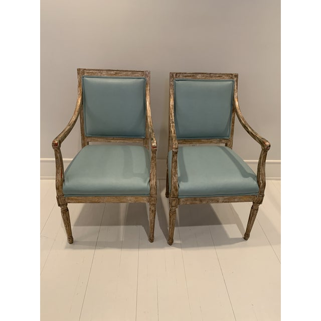 Wood French Arm Chairs - a Pair For Sale - Image 7 of 7
