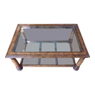 Maitland Smith Wood & Glass Coffee Table.