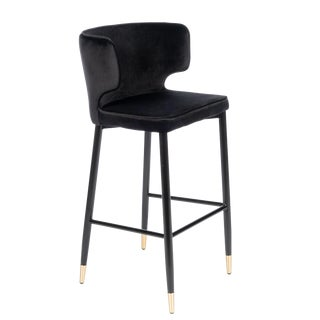 Kayla Upholstered Curved Black and Gold Bar Chair For Sale