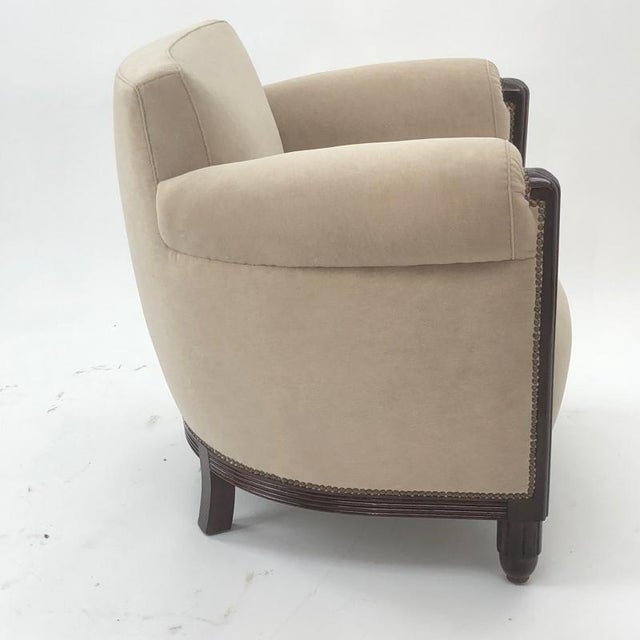Paul Follot pair of comfy club chair newly covered in mohair.