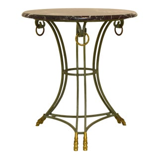 French Tripod Hoof Footed Marble Table For Sale