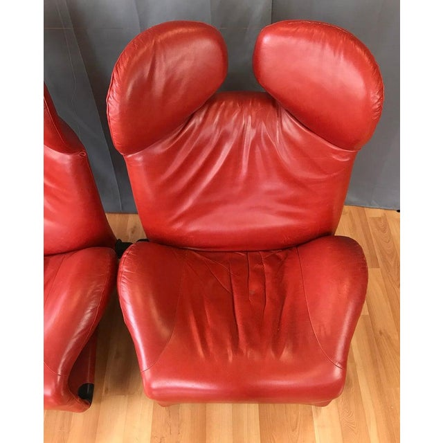 Pair of Toshiyuki Kita for Cassina Wink Convertible Leather Lounge Chairs For Sale - Image 9 of 13