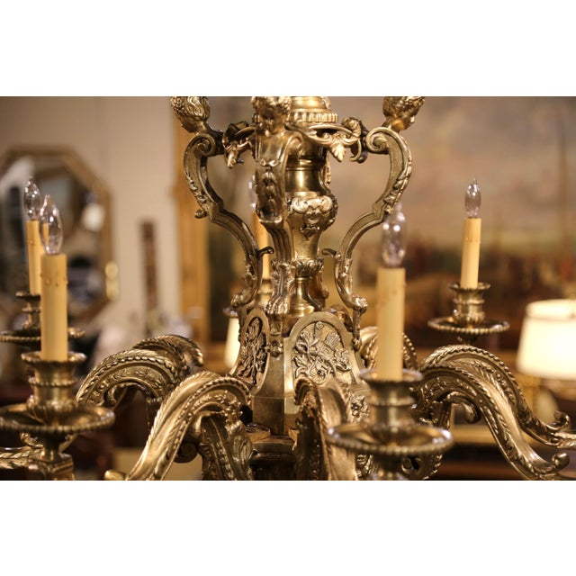 Late 19th Century 19th Century French Louis XV Patinated Bronze Dore Eight-Light Chandelier For Sale - Image 5 of 12