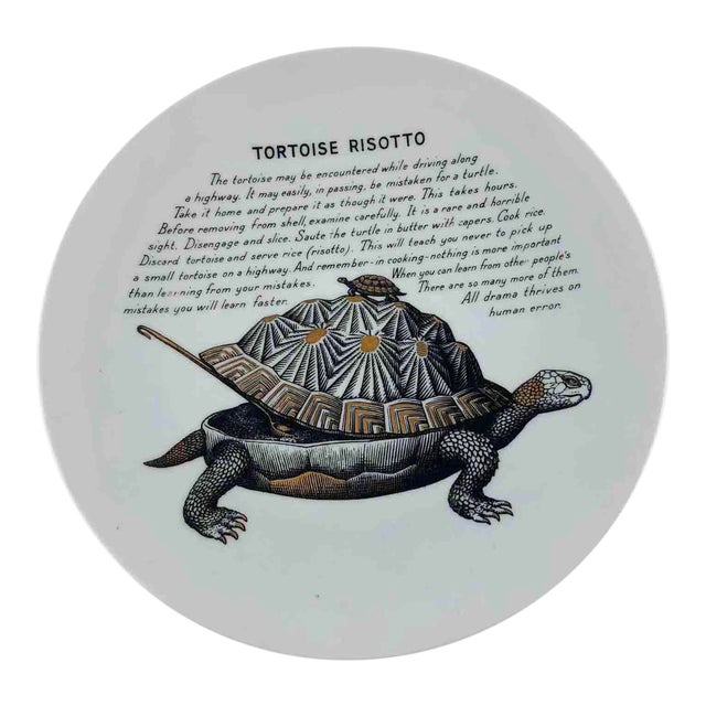 Piero Fornasetti 1960's Tortoise Risotto Improbable Recipe Plate for Fleming Joffe For Sale
