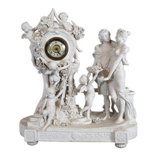 Austrian Bisque Figural Clock For Sale