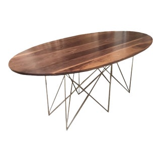 McManus Oval Walnut Dining or Conference, Midcentury Inspired with Stainless Steel Gold Powder Coated Base For Sale