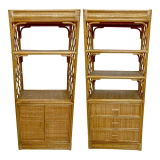 Pair of Rattan and Grasscloth Etageres / Bookcases For Sale