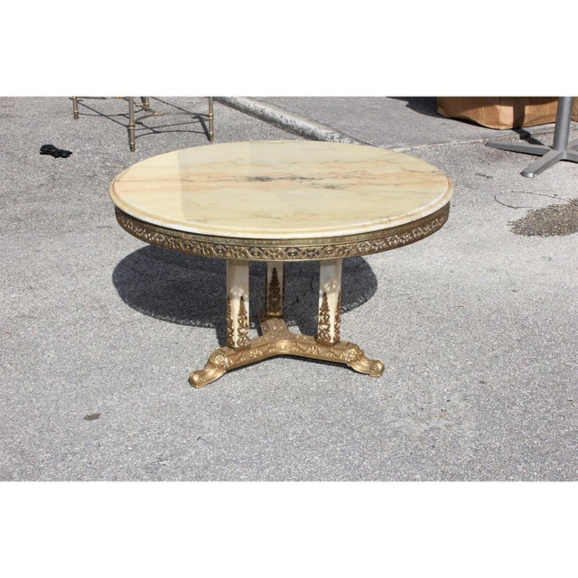 1940s Art Deco Maison Jansen Bronze Onyx Top Round Coffee Table For Sale - Image 11 of 13