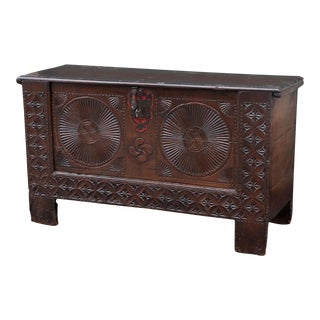18th Century Carved Spanish Chest For Sale