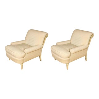 Vintage Jansen Style Upholstered Arm Chairs- a Pair For Sale