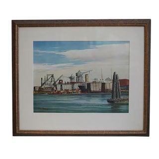"""1950s """"Shipyards, San Francisco"""" Watercolor Painting"""