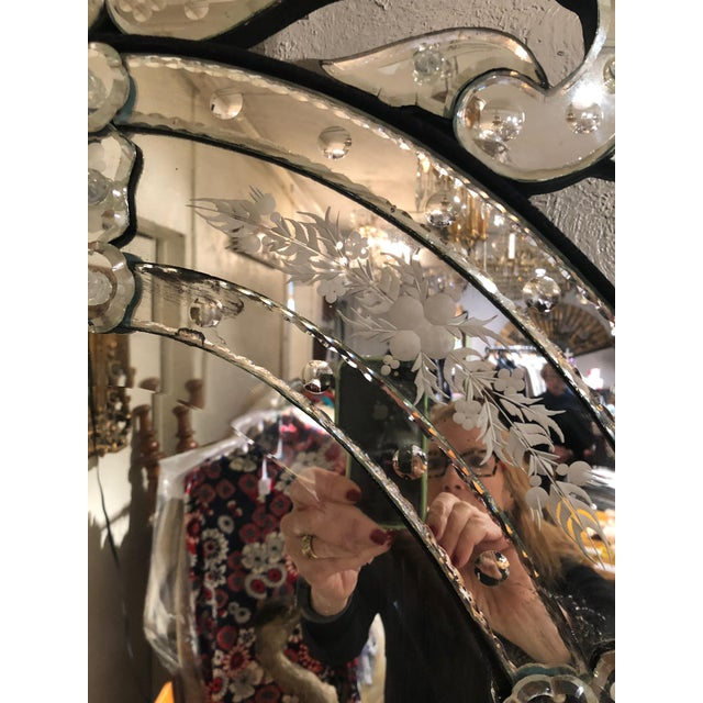 Silver Venetian Style Etched Oval Mirror For Sale - Image 8 of 11