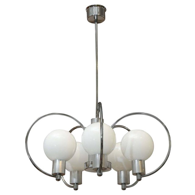 Sophisticated mid century modern chrome five light scrolled mid century modern chrome five light scrolled chandelier white glass globes image 1 aloadofball Choice Image