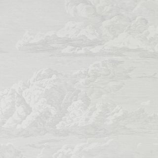 Sample - Schumacher Cloud Toile Wallpaper in Quartz For Sale