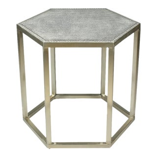 Sarried Ltd Mallen Leather Light Gray Stool For Sale