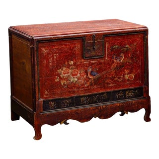 1900s Vintage Red Painted Chinese Chest For Sale