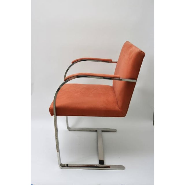Modern Brno Flat Bar Chairs by Knoll in Polished Steel and Ultra Suede - Set of 6 For Sale - Image 3 of 8