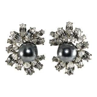 Kenneth Jay Lane for Tory Burch Faux Pearls Rhinestones Earrings For Sale