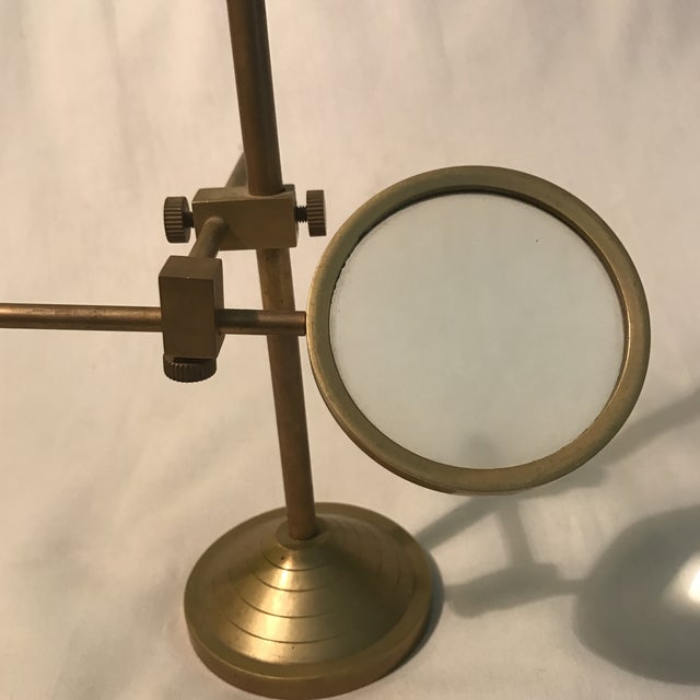 Vintage Magnifying Glass With Adjustable Brass Stand For Sale - Image 4 of 11