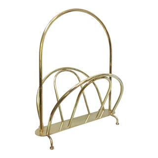 Vintage Hollywood Regency Brass Magazine Rack