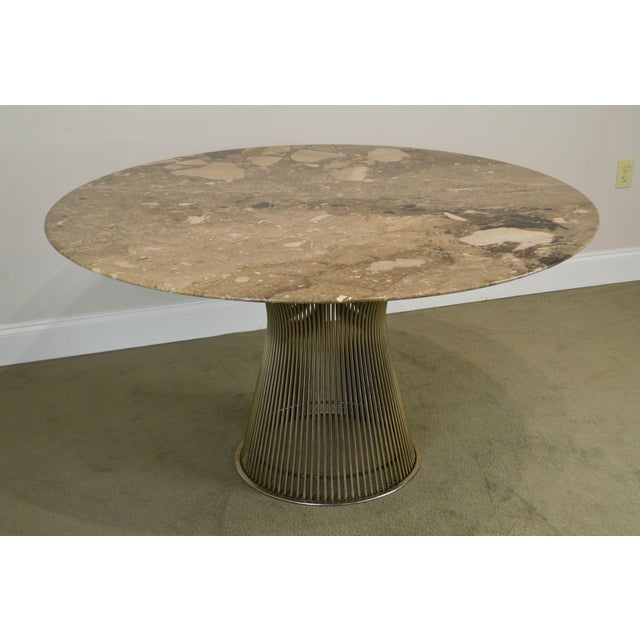 "Warren Platner for Knoll 54"" Round Marble Top Dining Table For Sale - Image 12 of 13"