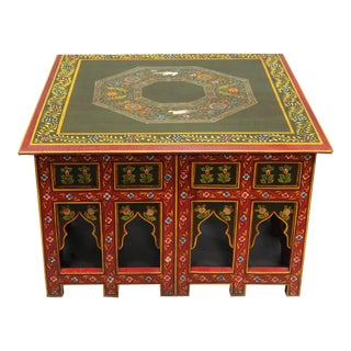 Asian Painted Wooden Coffee Table For Sale