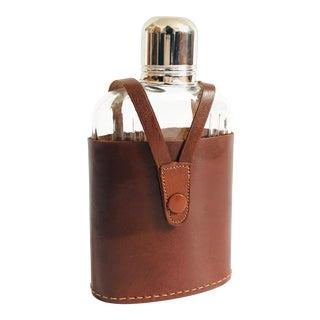 Vintage Glass Flask in Leather Holder For Sale