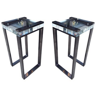 Pair of Charles Hollis Jones Side Tables in Lucite and Black Nickel, Signed For Sale