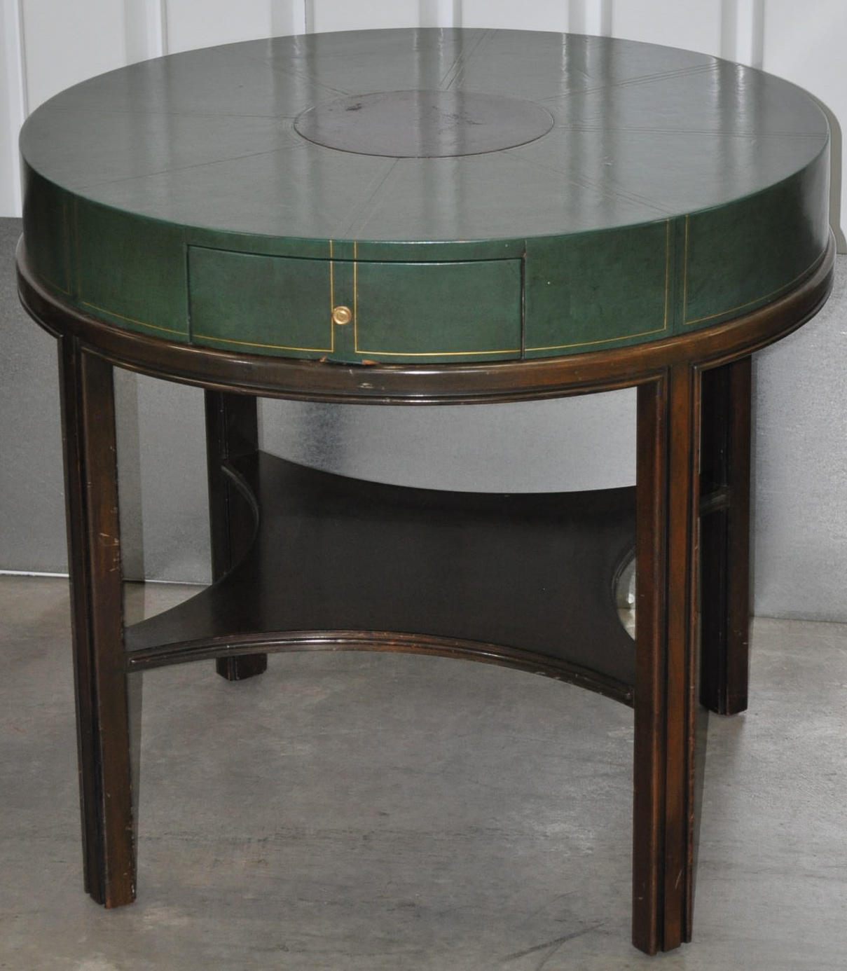 Tommi Parzinger Mid Century Green Leather Side Tables   A Pair   Image 6 Of  13