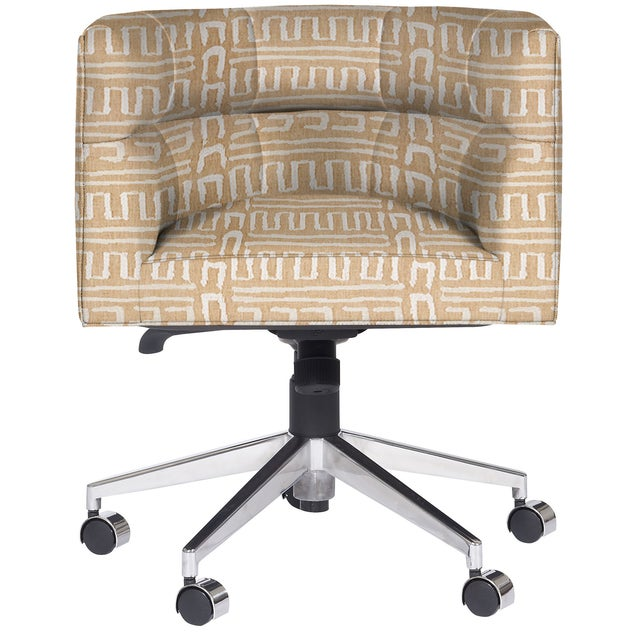 Transitional Casa Cosima Perry Desk Chair, Ester Linen For Sale - Image 3 of 4