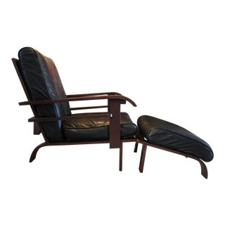 B & B Italia Art Deco Leather Chair & Ottoman - A Pair For Sale