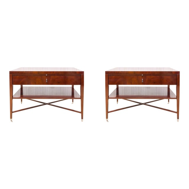 Bolier & Co. Swirl Mahogany Side Tables - Pair - Image 1 of 5